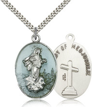 Our Lady of Medjugorje Sterling Silver Blue Enamel Medal 5679E-bliss