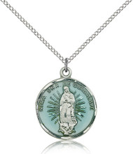 Our Lady of Guadalupe Sterling Silver Blue Enamel Medal 2075E-bliss