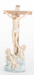 Crucifix With Cherubs Statue