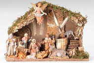 "FONTANINI NATIVITY WITH ITALIAN STABLE (11 PIECE SET--5"" FIGURES)"