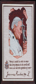 Imported Italian Framed Tapestry - Pope John Paul II