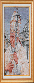 Pope Benedict at St. Peter's Imported Italian Framed Tapestry