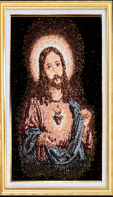 Sacred Heart of Jesus Imported Italian Framed Tapestry