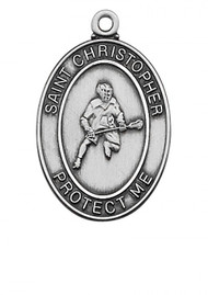 STERLING SILVER ST. CHRISTOPHER LA CROSS MEDAL