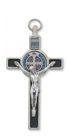 "ST. BENEDICT ITALIAN CRUCIFIX BLACK EPOXY 3"" WITH BLUE & RED CENTER 119-07"