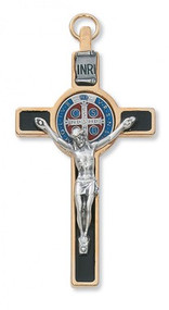 "ST. BENEDICT ITALIAN CRUCIFIX BLACK EPOXY 3"" WITH BLUE & RED CENTER 119-08"
