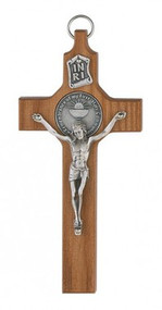 "WALNUT CRUCIFIX WITH COMMUNION MEDAL 6"" 75-23742"