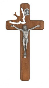 "WALNUT STAINED HOLY SPIRIT 8"" CRUCIFIX 77-06"