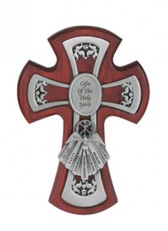 "CHERRY STAINED 6"" CROSS WITH PEWTER GIFTS OF THE SPIRIT 77-23"