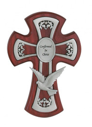 "CHERRY STAINED 6"" CROSS WITH PEWTER HOLY SPIRIT 77-28"