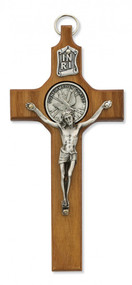 """WALNUT STAINED 6"""" CRUCIFIX WITH CONFIRMATION MEDAL 77-32"""