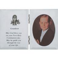 """GRANDSON SILVER COMMUNION PLAQUE FRAME 5X7"""" 76-11"""
