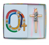 CHILDREN'S PINK WALL CROSS & ROSARY SET BS14