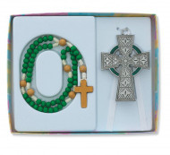 CHILDREN'S CELTIC WALL CROSS & ROSARY SET BS34