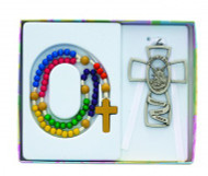 CHILDREN'S GUARDIAN ANGEL WALL CROSS & ROSARY SET BS46