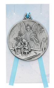 CHILDREN'S GUARDIAN ANGEL CRIB MEDAL WITH BLUE RIBBON