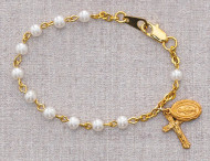 BABY BRACELET GLASS PEARL 4MM B28H