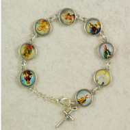"SILVER OX ADULT PICTURE BRACELET 7-1/2"" B6"