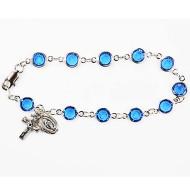 BLUE AUSTRIAN CRYSTAL STONES ADULT ROSARY BRACELET BR188