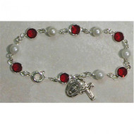 RED & PEARL AUSTRIAN CRYSTAL STONES ADULT ROSARY BRACELET BR192