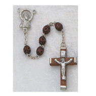 MEN'S CARVED BROWN WOOD IMPORTED ROSARY 3X5MM 135R