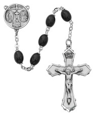 BLACK WOOD ROSARY 6X8MM 139L-BKF