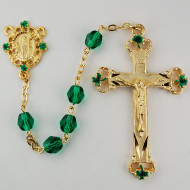GREEN & BLACK ROSARY WITH GOLD PLATING 7MM 197HF