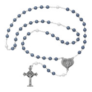 BLUE & WHITE PEARL ROSARY 7MM 365DF