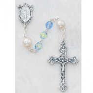 "PEARL ""OUR FATHER"" LIGHT GREEN & BLUE IMPORTED ROSARY 7MM 439R"