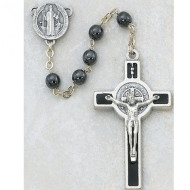 ST. BENEDICT HEMATITE IMPORTED ROSARY ENAMELED CRUCIFIX 6MM 440R