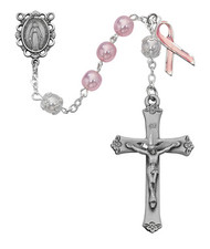 CANCER PINK & WHITE PEARL  ROSARY 7MM 791SF