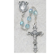MARCH BIRTHSTONE IMPORTED ROSARY 6MM 875-AQG