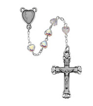 CRYSTAL HEART ROSARY 6X6MM 921DF