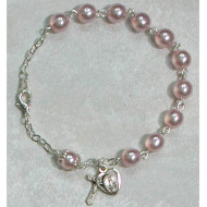 PINK PEARL GLASS WITH CAPPED O.F. ADULT ROSARY BRACELET 7MM BR222D