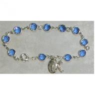 BLUE AUSTRIAN CRYSTAL STONES ADULT ROSARY BRACELET BR226
