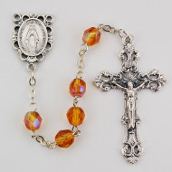 NOVEMBER BIRTHSTONE IMPORTED ROSARY 6MM R391-TO/G