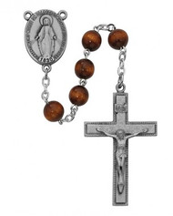BROWN WOOD ROSARY 7MM R435F