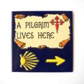 Camino de Santiago Pilgrim Arrow and Scallop Shell Ceramic Tile