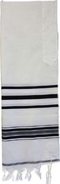 Black Stripe Wool Tallit by Talitania