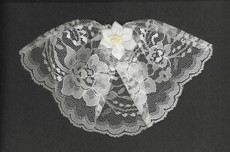 White Lace Headcovering With Pearl Star Flower