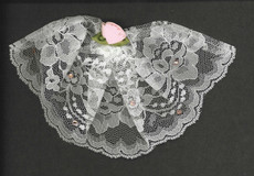Ivory Lace Headcovering with Rose and Swarovski Crystals