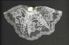 White Lace Headcovering With Rose