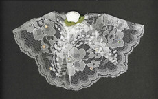 White Lace Headcovering With Rose & Swarovsky Crystals