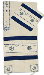 Blue Geometric Tallit Set