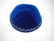 Velvet Geometric Border Kippah - Royal Blue