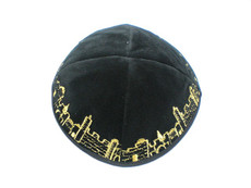 Velvet Jerusalem Outline Kippah - Black