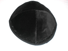 Velvet Tone on Tone Kippah - Black