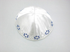 Satin Band of Stars Kippah - White mcbs3