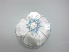 Satin Agam Star Kippah - White mca8