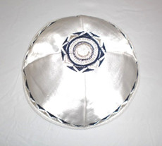 Satin Agam Design Kippah - White mca3